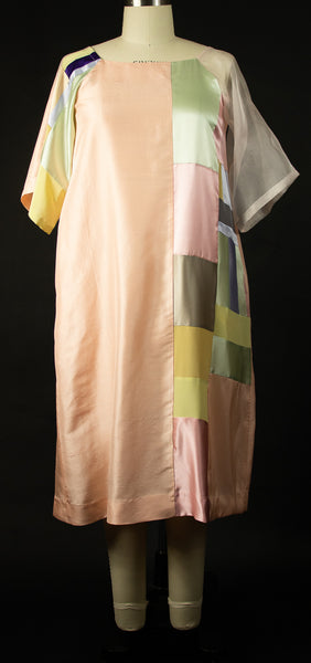 Peach Silk Shantung Patchwork Tunic