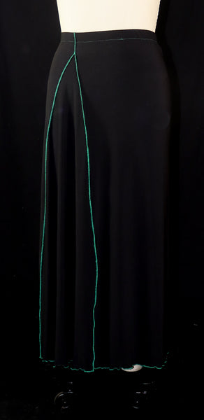 Black Matte Jersey Skirt with Green Edging