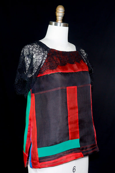 Silk Patchwork Organza Tunic with Lace Embellishment Red, Black, and Green