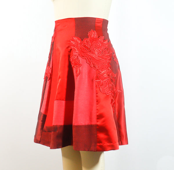 Silk Satin with Red Lace Appliques