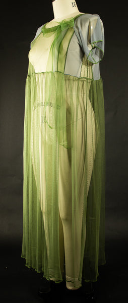 Green Stretch Net Dress with Ribbon Drawstring at Neckline