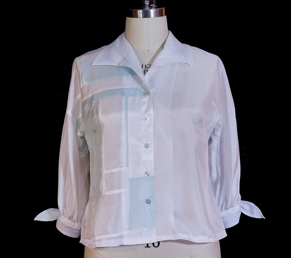 Patchwork Silk Habotai Blouse with Blue Stitching