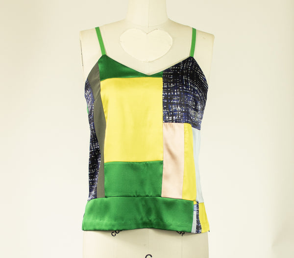 Patchwork Small Stretch Silk Camisole Green