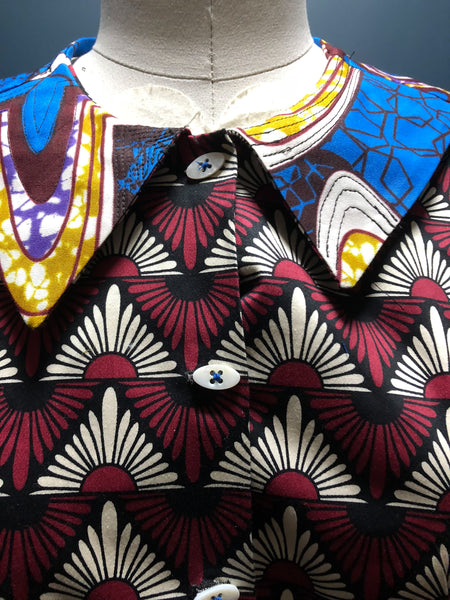 Short Sleeve Patchwork African Print Shirt