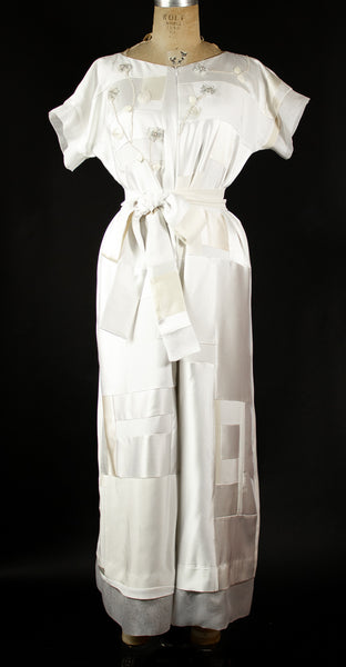 White Patchwork Silk Jumpsuit
