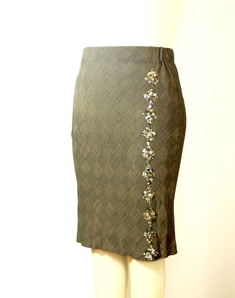 Short Bias Cut Rayon Skirt with Silk Sequin Beading