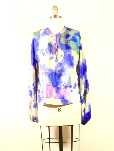 Long Sleeve Patchwork Silk Tunic
