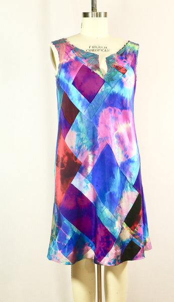 Sleeveless Patchwork Tie Dyed Tunic