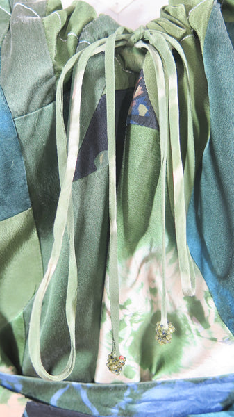 Short Sleeve Silk Patchwork Tie Dyed Tunic