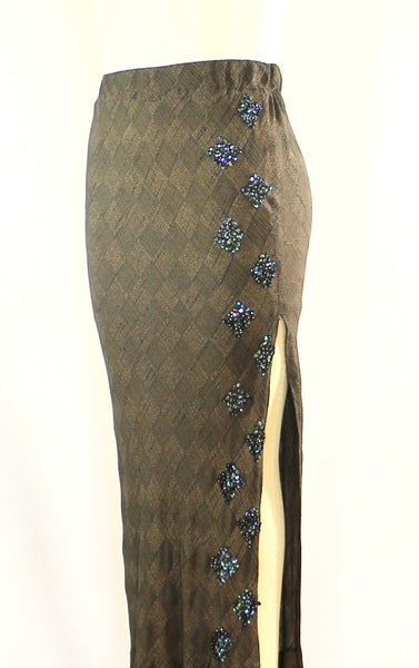 Long Bias Cut Rayon Straight Skirt with Sequins detail