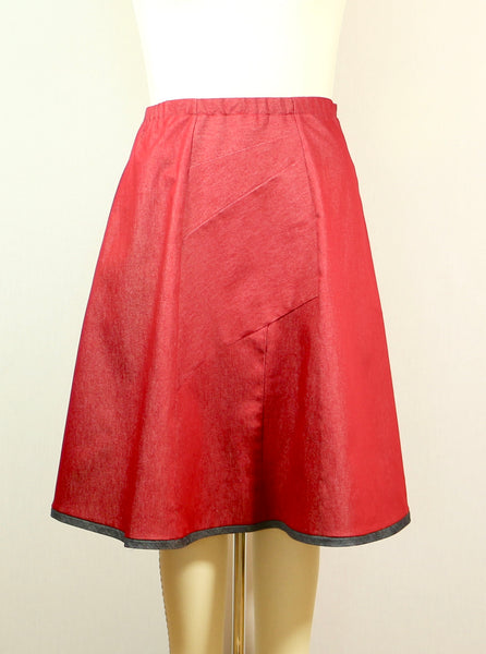 A line Red Stretch Denim Skirt