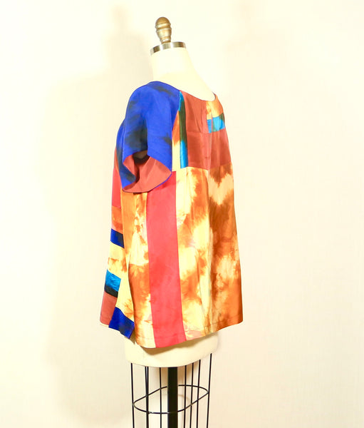 Tie Dyed Patchwork Silk Tunic Top Medium