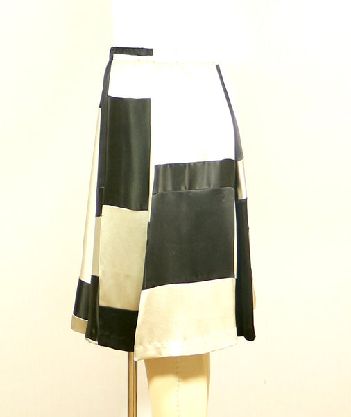 A line Plus Size Silk Patchwork Skirt