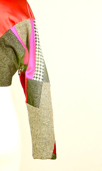 Crop Silk and Wool Jacket with Embroidery
