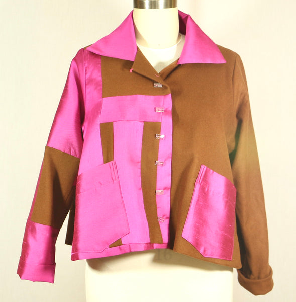 Patchwork Swing Wool and Silk Jacket