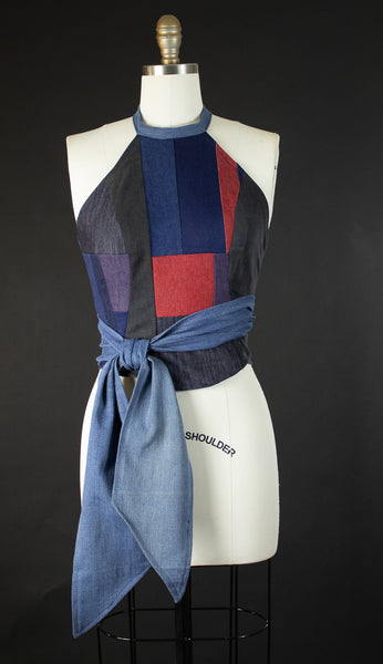 Patchwork Denim Halter Wrap