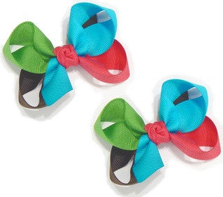 4-colored combination hair bow set (2 bows)