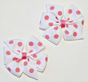 polka-dot hair bow set (2 bows)