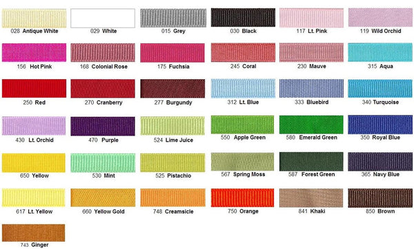 hair bow color chart