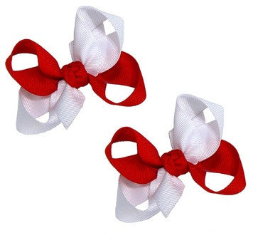 2-colored combination hair bow set
