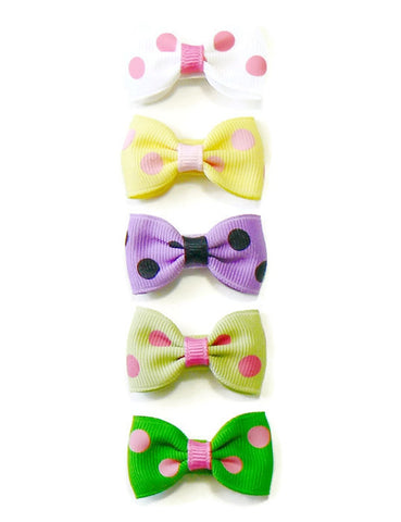 Infant girls polka-dot hair bow set (5 bows)