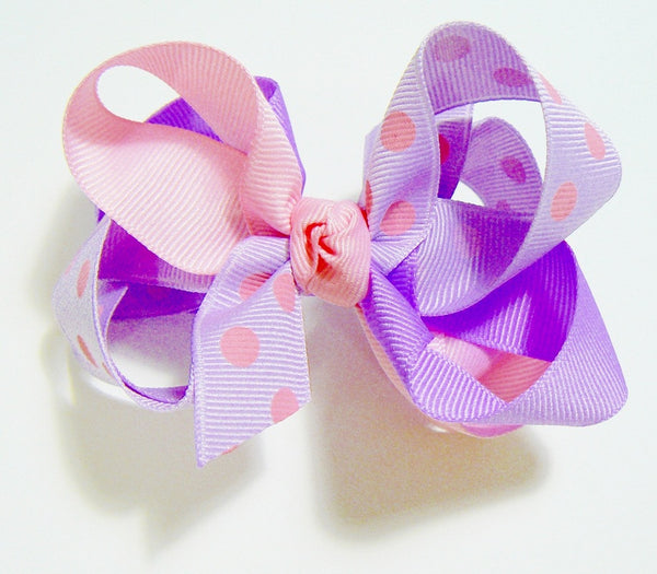 combination polka-dot hair bow