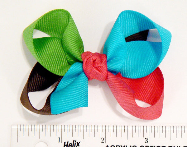 4-colored medium hair bow (next to ruler)
