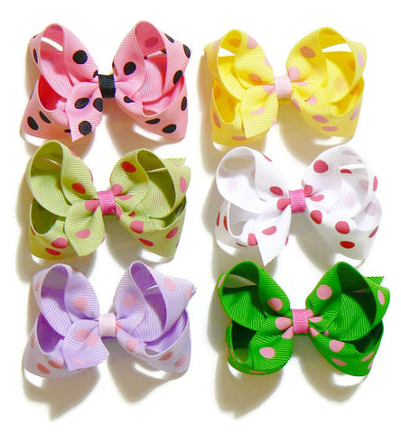 polka-dot hair bow set (6 bows)
