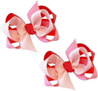 3-colored combination hair bow set