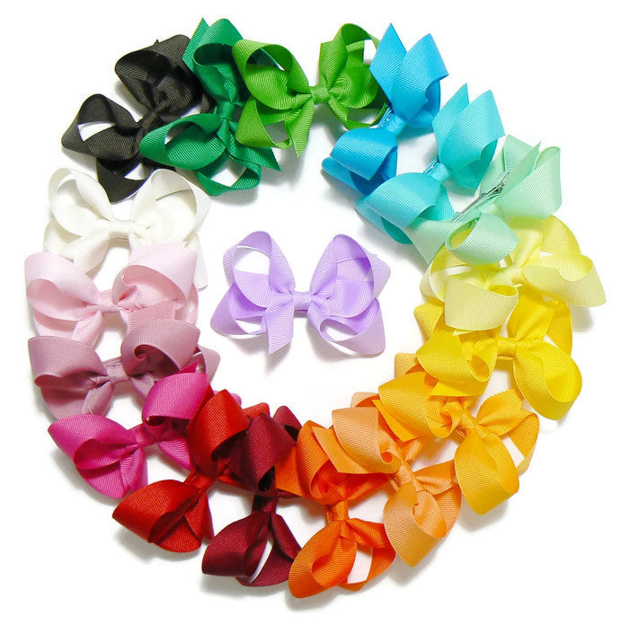girls medium hair bow set (18 bows)