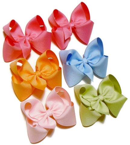 girls medium hair bow set (6 bows)