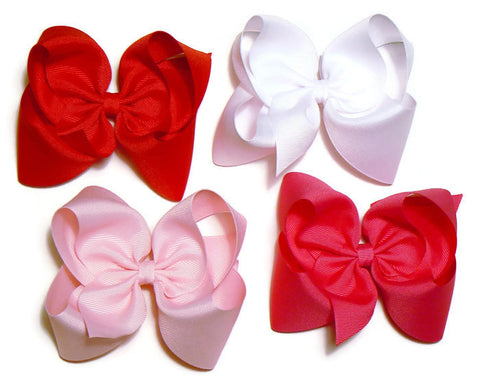 girls large hair bow set (4 bows)
