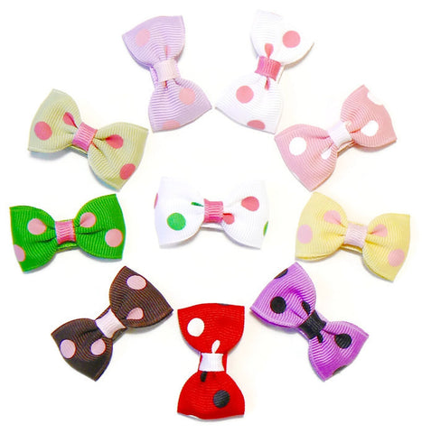Infant girls polka-dot hair bow set (10 bows)