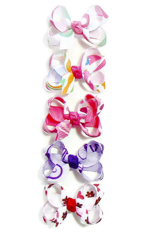 printed ribbon infant hair bow set (5 bows)