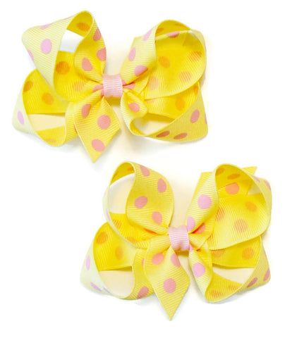 medium polka-dot hair bow set (2 bows)