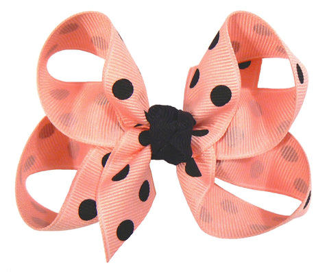 GB3 - Girls Medium Polka-Dot Hair Bow (with knot) ~ Wholesale