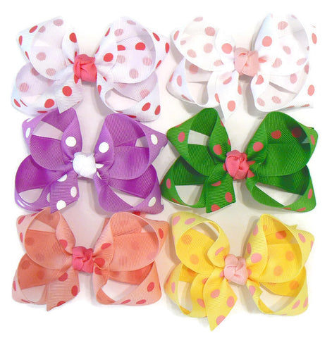 medium polka-dot hair bow set (6 bows)