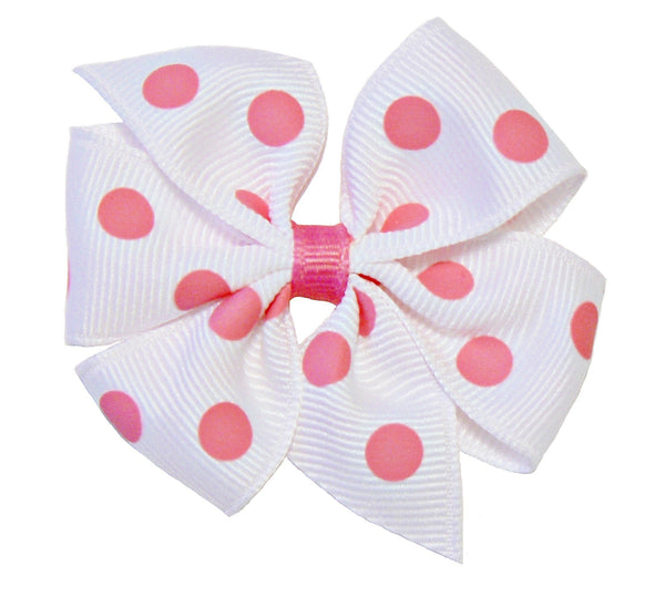 GN2 - Girls Medium Polka-Dot Hair Bow (without knot) ~ Wholesale