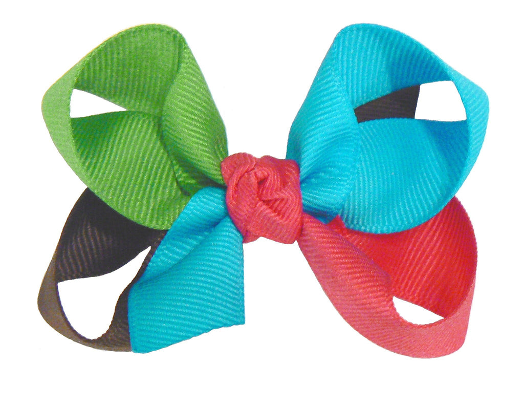 JKM-4 - Girls Medium Multi-Colored Hair Bow (4-Colors) ~ Wholesale