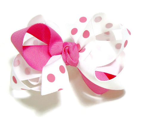 3-colored polka-dot hair bow.