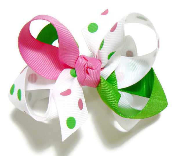 Girls Combination Polka-Dot Hair Bow ~ Choose Your Own Colors *(JBO-3)