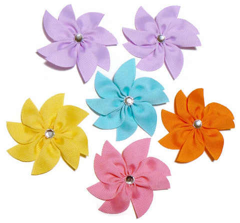 Flower hair bow set (6 bows)