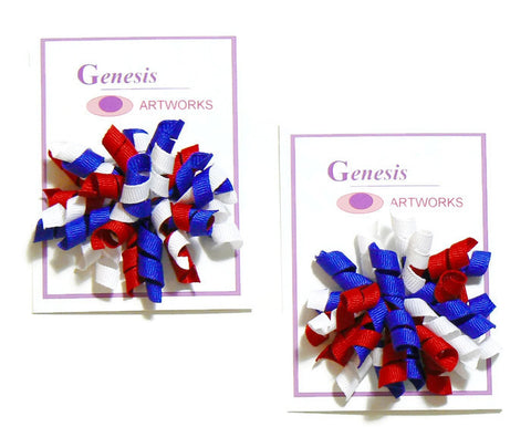 girls corker hair bow set (2 bows)