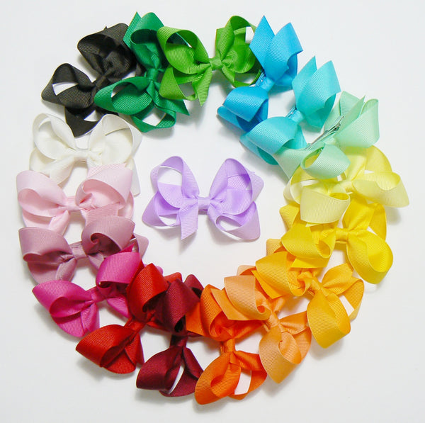 18 Medium Hair Bows (without knots) - A3 - MEDIUM PINKS ~ Wholesale