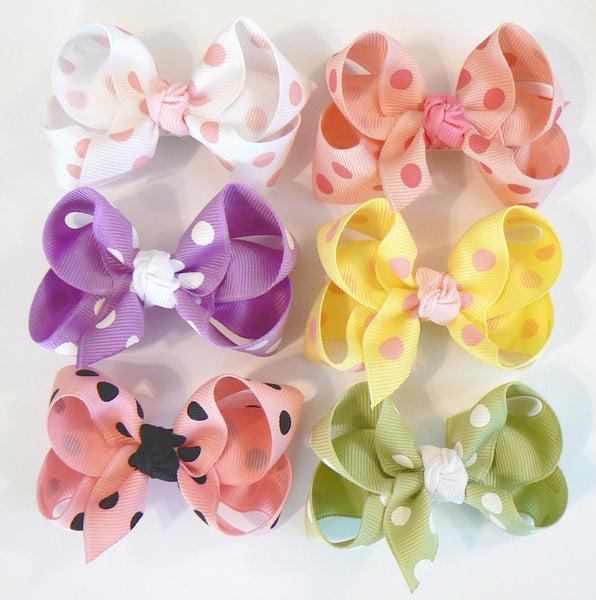 GB2 - Toddler Girls Polka-Dot Hair Bow (with knot) ~ Wholesale
