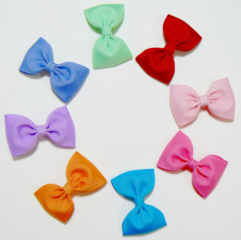 16 Grosgrain Hair Bows (without knot) - A15 - SMALL BOLD ~ Wholesale