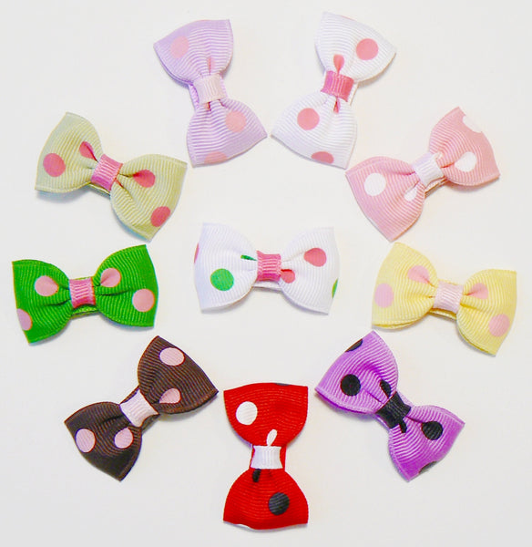 GA78 - Infant Girls Polka-Dot Hair Bow (without knot) ~ Wholesale