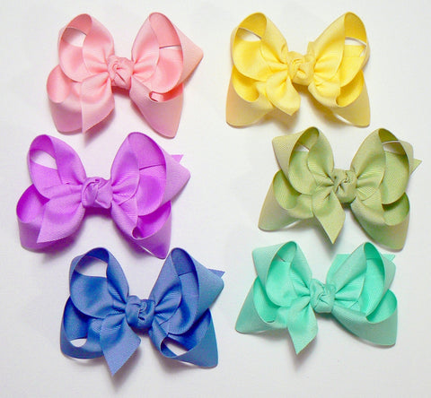 12 Large Hair Bows (with knots) - B4 - LARGE BOLD ~ Wholesale