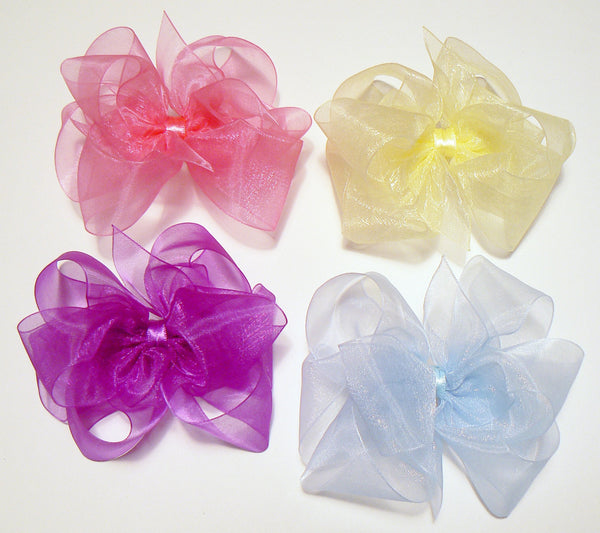 OR4 - Girls Large Organza Hair Bow (without knot) ~ Wholesale