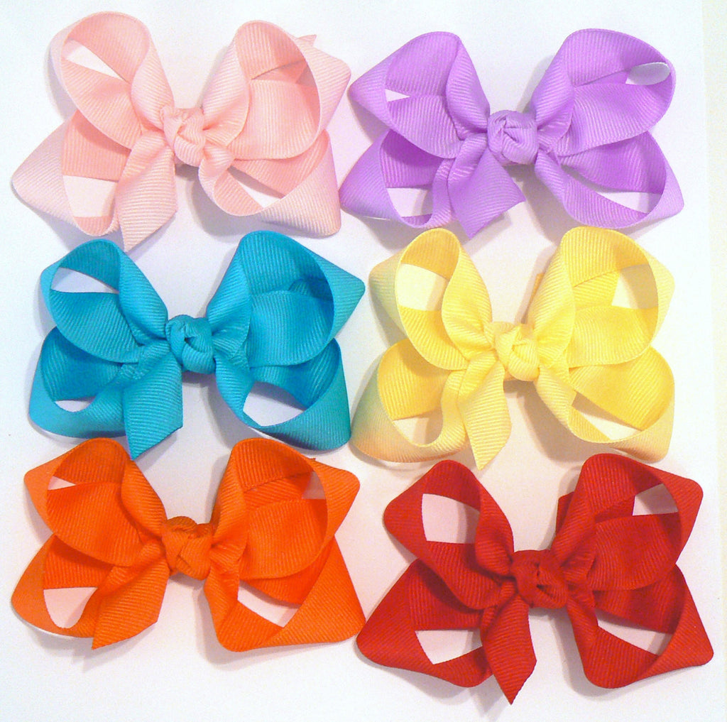 18 Medium Hair Bows (with knots) - B3 - MEDIUM PASTELS ~ Wholesale